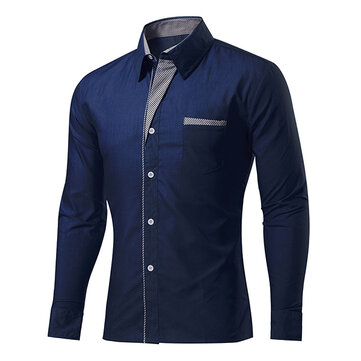 Mens Fashion Casual Stitching Color Slim Fit Long Sleeve Spring Autumn Turn-down Designer Shirt 11 Colors