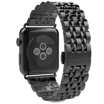 Black Stainless Steel Band Strap With Butterfly Clasp for 42mm Apple Watch Series 1