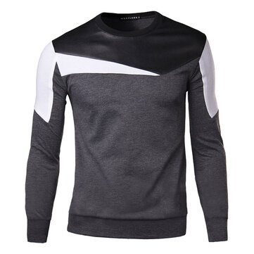 Mens Casual Fashion O-neck Collar Splicing Sweatshirt Slim Fit Pullover Sweatshirt
