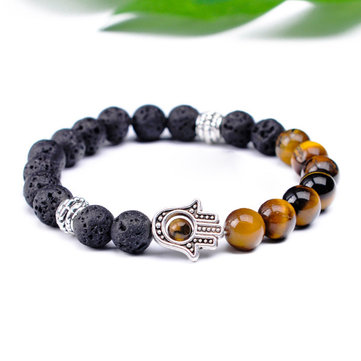 Retro 8mm Volcanic Stone Beaded Bracelet Half Natural Stone Bracelet Alloy Hand Women Bracelet