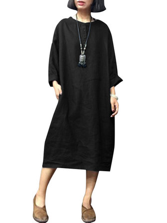 Plus Size Women Vintage Crew Neck Long Sleeve Dress