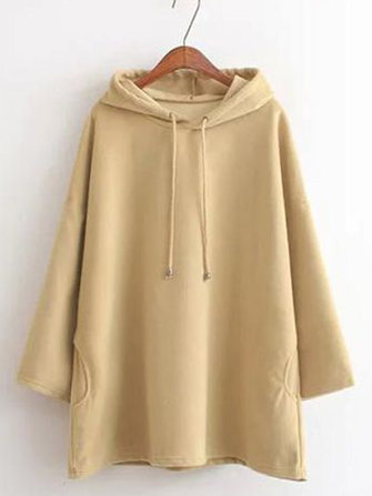 Loose Solid Color Hooded Autumn Winter Sweatshirt