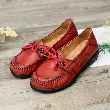 Laec Up Genuien Leather Women Loafers