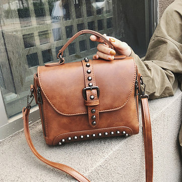 Women Leather Vintage Handbag Rivet Solid Shoulder Bag