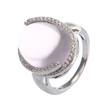 JASSY® Romantic Love Stone Natural Rose Quartz Translucent Ring Platinum Plated Zircon Women Jewelry