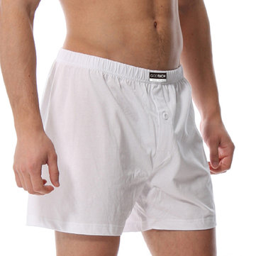 Mens Loose Cotton Arrow Shorts Home Button Sleepwear Underwe