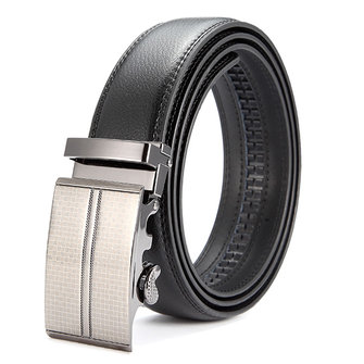 Mens Second Layer Leather Business Belt Alloy Adjustable Automatic Buckle Leather Black Belt