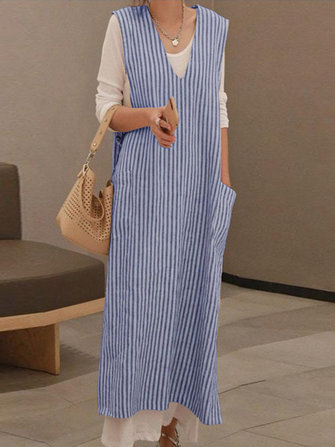 Plus Size Casual V-neck Sleeveless Stripe Maxi Dress with Pockets