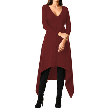 Casual Women Solid Color Asymmetrical Hem V-Neck Dress