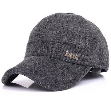 Mens Woolen Thicken With Ear Flaps Baseball Hats Adjustable Warm Snapback Caps