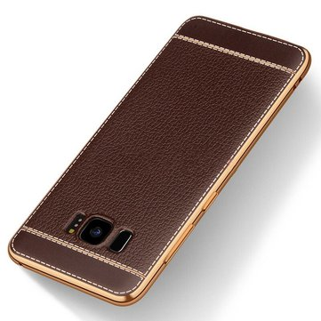 Plating Litchi Texture Leather + TPU caso per Samsung Galaxy S8 Plus