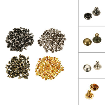 100Pcs 5mm Antique Bronze Brass Round Metal Double Cap Rivet Feet Punk Jewelry Shoes Bags Clothes