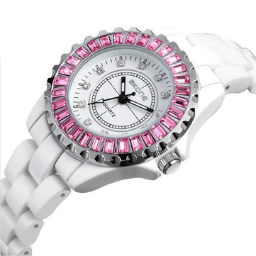 SKONE 7240 Women Stainless Steel Band Waterproof Wrist Watch