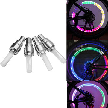4Pcs XANES WL04 Vibration Induction Bicycle Wheel Light Nozzle Spoke Light for Schrader Valve Woods