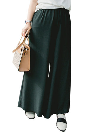 Plus Size Casual Women Green Wide Leg Pants