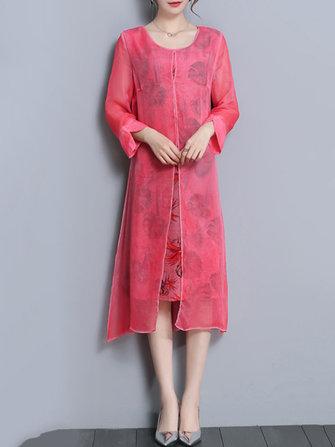 Fake Two Pieces Elegant Women Printed Chiffon Dress