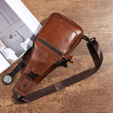 Ekphero Men Travel Retro Fashion Cowhide Chest Bag Shoulder Crossbody Bag