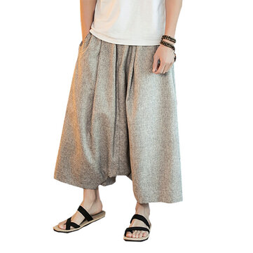 Chinese Style Casual Breathable Wide Leg Pants Fashion Men's Large Size Calf-Length Pants