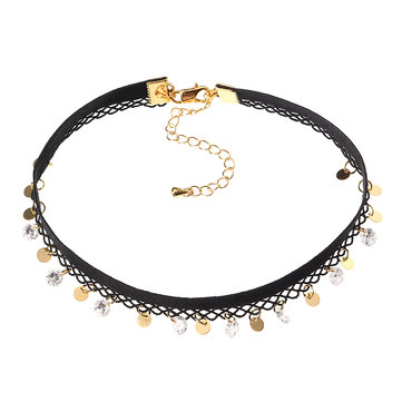 JASSY® Fine Necklace Punk Lolita Anallergic 18K Gold Plated Shiny Zircon Gold Coin Black Lace Choker