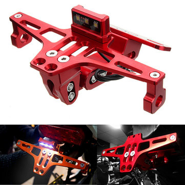 Motorcycle License Plate Holder Bracket LED Rear Light 12V CNC Fender For YAMAHA BWS