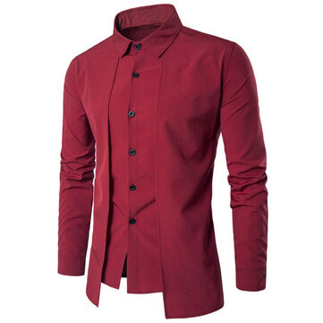 INCERUN Stylish Slim Fit Long Sleeve Lapel Dress Shirts for
