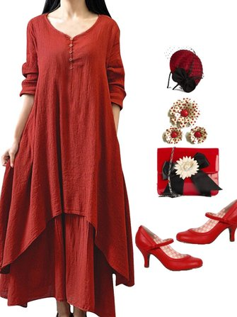 Women Long Sleeve Double Layers Button Asymmetric Vintage Maxi Dress