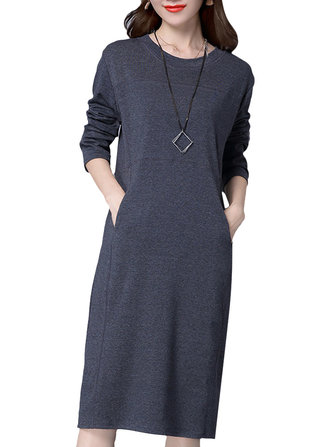 Women Elegant Solid O-Neck Long Sleeve Simple Slim Dress