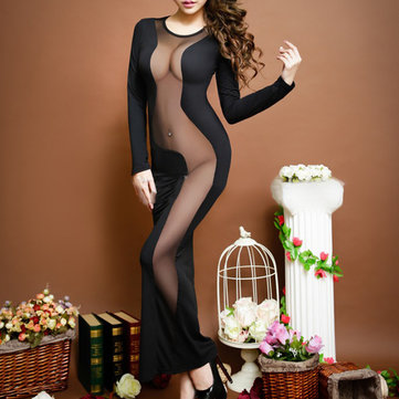 Sexy Woman Milk Silk See-through Nightwear Mesh Long Dress Sleepwear