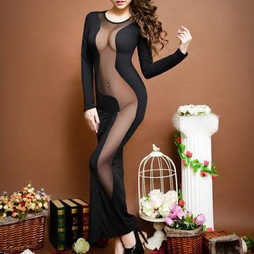 Sexy Woman Milk Silk See-through Nightwear Mesh Long Dress Sleepwear