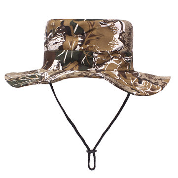 Mens Folding Camouflage Bucket Hat Breathable Sun Fishing Hat Visor Cap