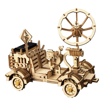 3D Wooden Puzzle Toys Christmas Birthday Gift Assemble Solar Energy Powered Moon Buggy Teach Model