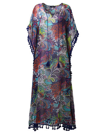Women Sexy V-Neck Printed Tassel High Split Beach Maxi Dresses