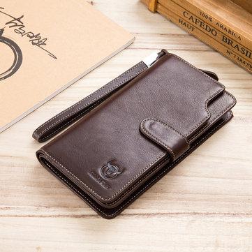 BULLCAPTAIN رجال الأعمال ريترو 12 فتحات بطاقة حقيبة الهاتف طويل المحفظة