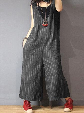 Women Sleeveless V Neck Stripe Loose Overalls Wide Leg Jumpsuit