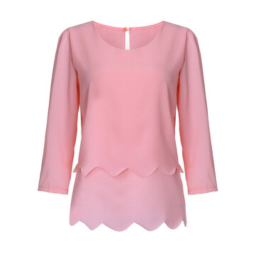 Sexy Backless Solid Color 3/4 Sleeve Women Flounce Blouse
