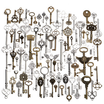 80pcs Antique Vtg old look Ornate Skeleton Keys Lot Pendant Fancy Heart Decorations