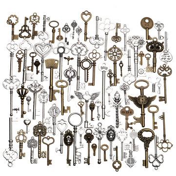 80pcs Antique Vtg old look Ornate Skeleton Keys Lot Pendant Fancy Heart Decorations