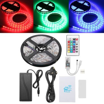 DC12V 5M SMD5050 Waterproof UK Plug Smart WiFi RGB LED Strip Light Work with Alexa Echo Google Home
