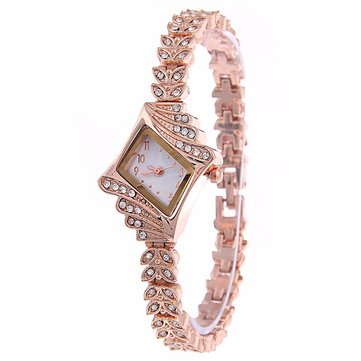 Fashion Ladies Dress Watch The Diamond Shape Crystal Leaf Women Bracelet Quartz Watch