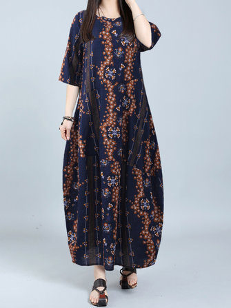 Gracila Floral Printed Half Sleeve Loose O-neck Maxi Dresses