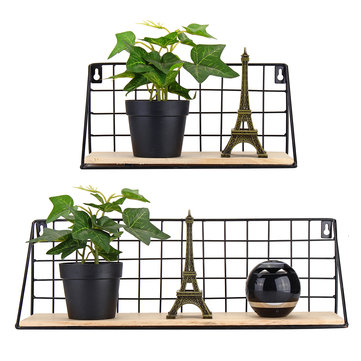 Wooden Iron Shelf Bracket Wall Hanging Floating Book Storage Rack Home Bookshelf Display