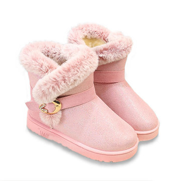 Winter Ladies Warm Snow Boots Paillettes Low Heel Boots Round Toe Ankle Short Boots