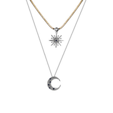 Trendy Double Layer Rhinestone Inlay Star Moon Pendant Necklace Best Gift for Women