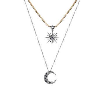 Trendy Double Layer Strass Inlay Star Moon Pendentif Collier Meilleur cadeau pour les femmes