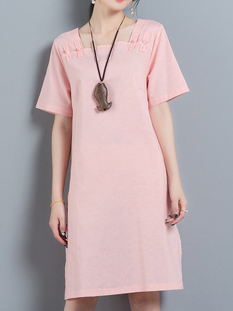 Vintage Short Sleeve Plate Buckle Square Collar Dress