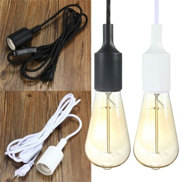 E26 E27 Plug-in On/off Hanging Light Socket Pendant Lamp Holder Bulb Socket