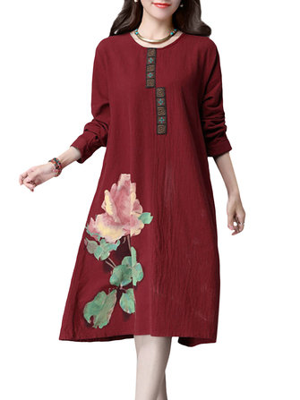 Casual Women Printing Flower Cotton Long Sleeve Loose Dress