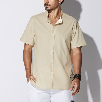 TWO-SIDED Mens Big Size Classic Pure Color Stand Collar Short Sleeve Summer Cotton Shirts