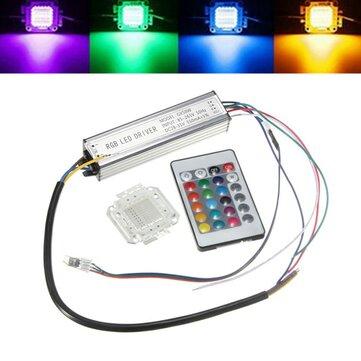 หลอดไฟชิพ RGB ขนาด 50W กันน้ำ LED ชุดจ่ายไฟของไดรฟ์เวอร์ที่มีตัวควบคุม รีโมท