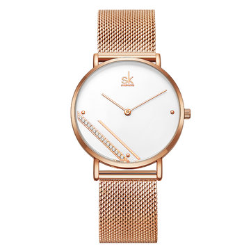 SHENGKE SK Creative Crystal Dial K0106 Women Fashion Simple Ladies Dress Elegant Quartz Watch